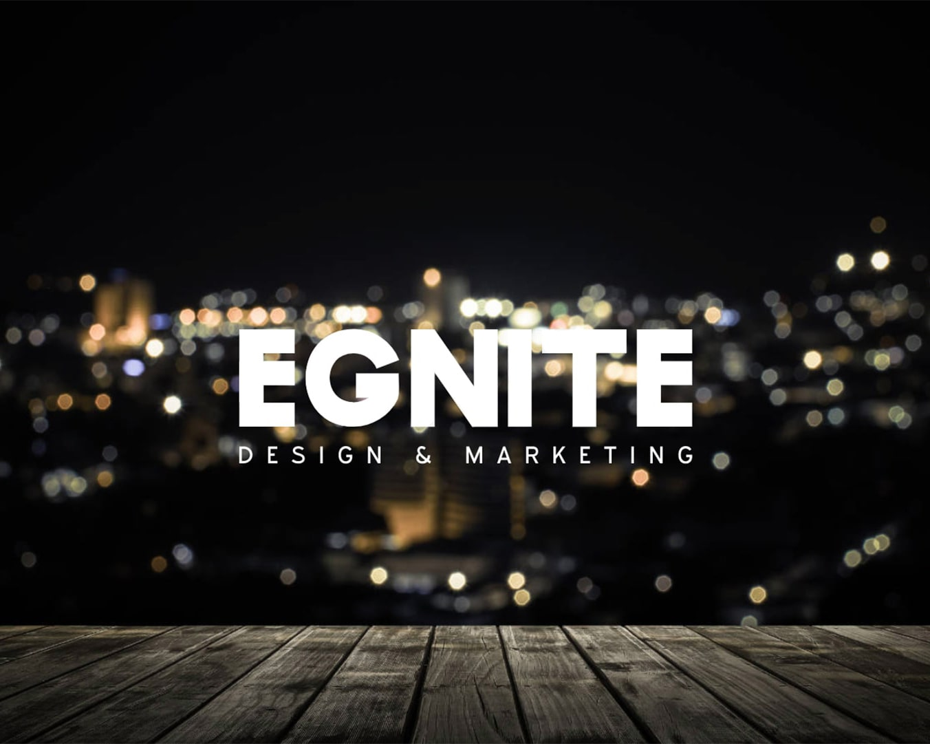 SEO and Marketing by Egnite logo superimposed over a cityscape background