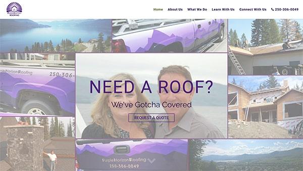 Purple Horizon Roofing Website Screenshot