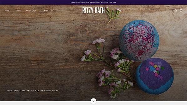Ritzy Bath Bath Bomb Website Screenshot